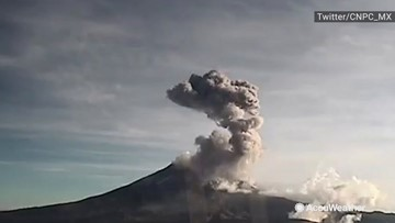 Explosion at volcano sends ash and debris racing into the sky