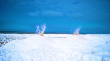 'Ice volcanoes' erupt at Oval Beach