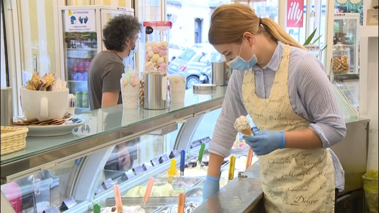 Ice cream store reopens after end of lockdown in Rome