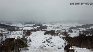 Flying through the wintry landscape
