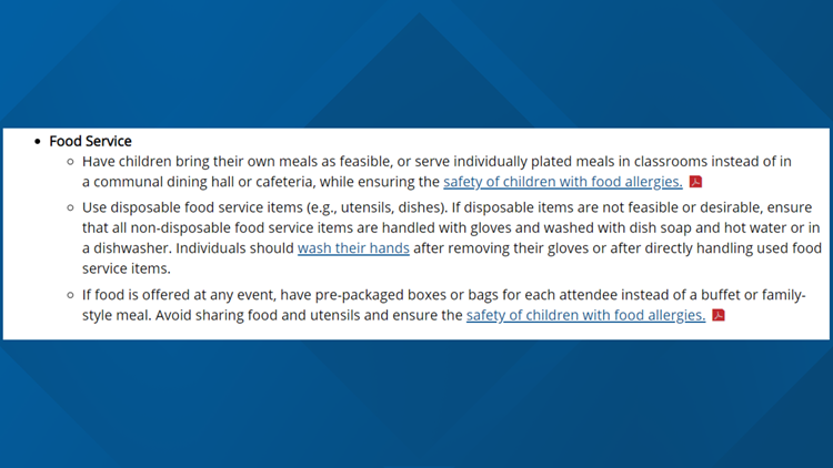 CDC guidance on food safety