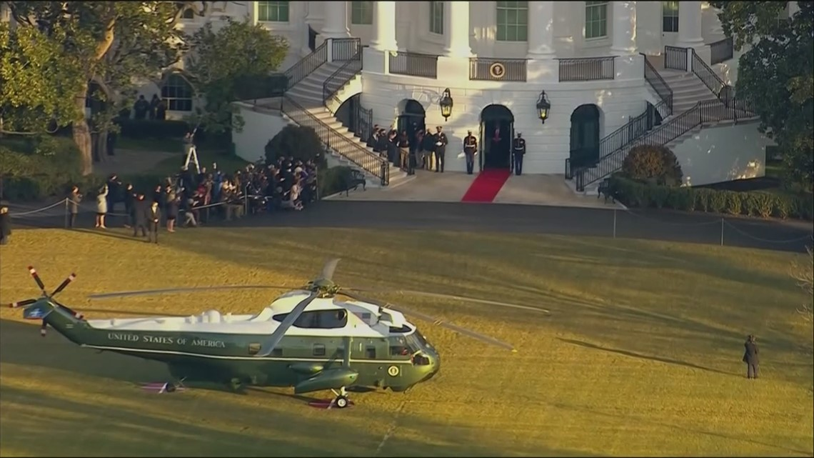 Trump leaves White House, boards Marine One