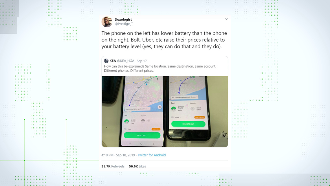 VERIFY: Does Uber charge you more if your battery is low?