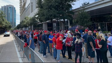 Thousands of people fill Dallas arena for President Trump's 'Keep America Great' rally