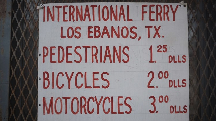 Fares listed to ride El Chalan in Los Ebanos, Texas