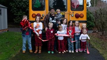 Grandfather buys bus to take his 10 grandchildren to school