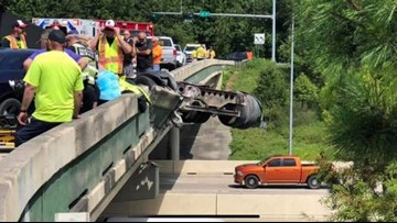 Big rig partially hanging off Highway 59 in Montgomery County removed