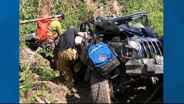Elderly couple rescued after Jeep rolled 450 feet down steep terrain
