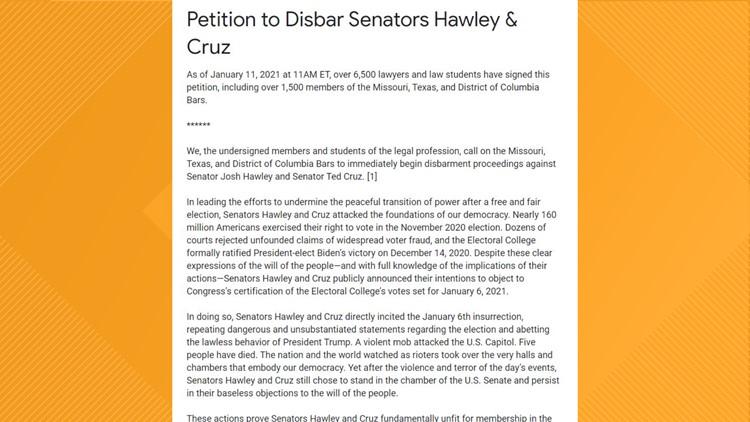 Thousands sign petition to disbar Sen. Ted Cruz