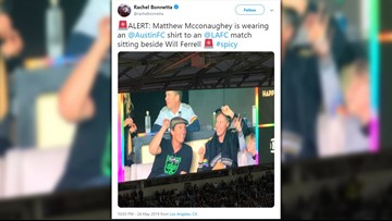 Matthew McConaughey spotted wearing Austin FC shirt at L.A. soccer match