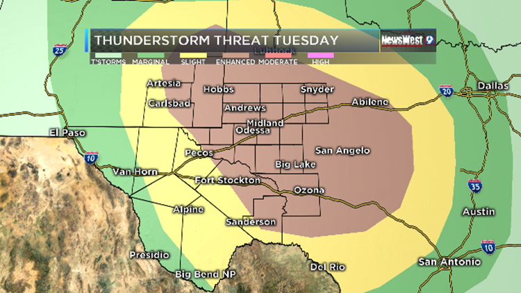 Map Of West Texas And New Mexico.Severe Storms To Impact West Texas Se New Mexico Newswest9 Com