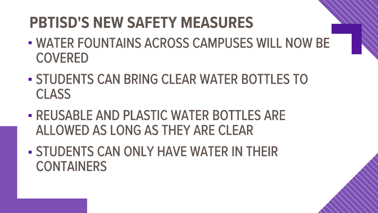 PBTISD covers water fountains, allows students to bring clear water bottles