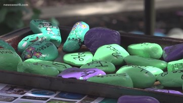 Medical Center Hospital volunteers honoring hospital employees by donating hand-painted kindness rocks