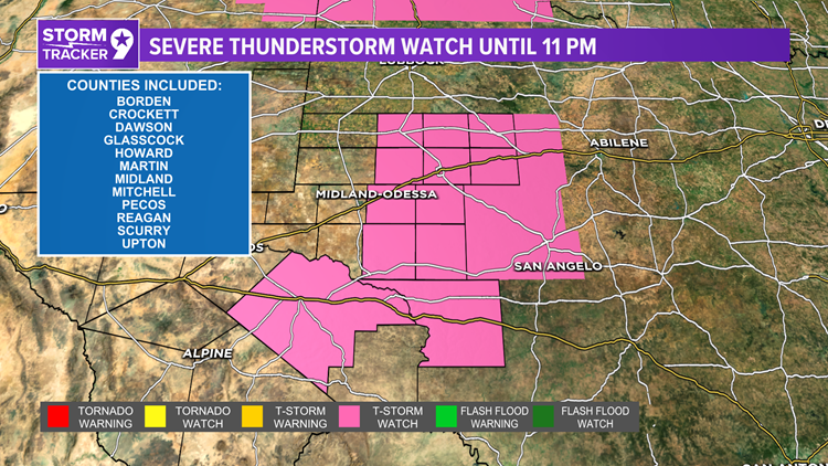 Severe thunderstorm watch until 11:00 P.M. tonight