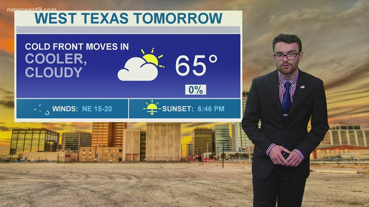 Cooler on Sunday with a small chance of rain for Midland-Odessa on Monday