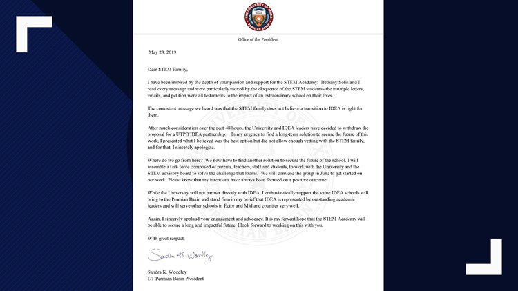 Letter from UTPB President