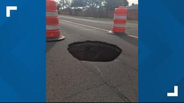 Depression in pavement impacts Midland traffic