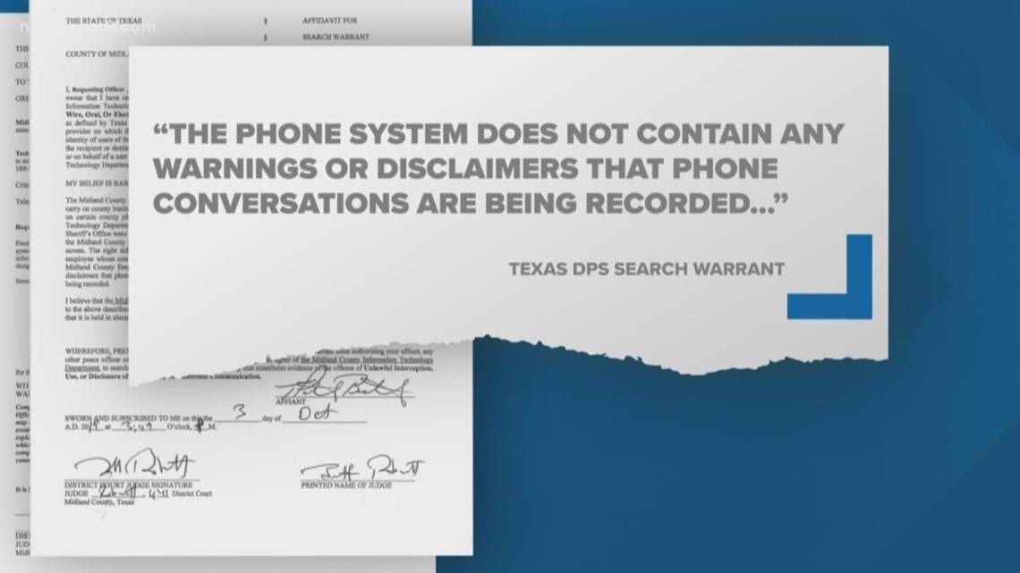 Search warrant details wiretapping claims at Midland Co. Sheriff's Office