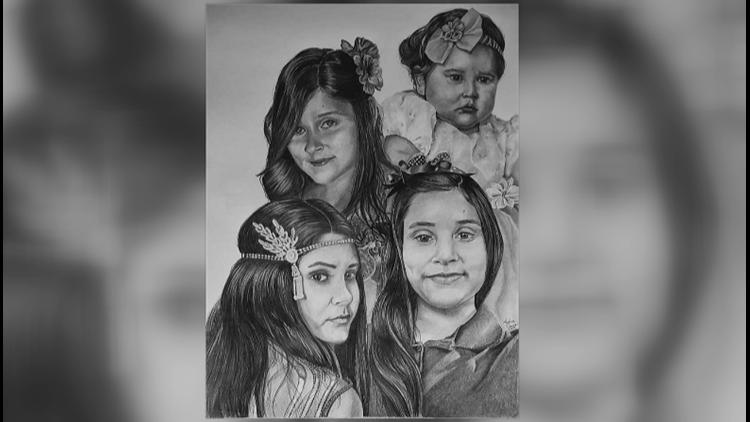Art piece art teacher Adam Cross sketched and gifted Leilah Hernandez's parents