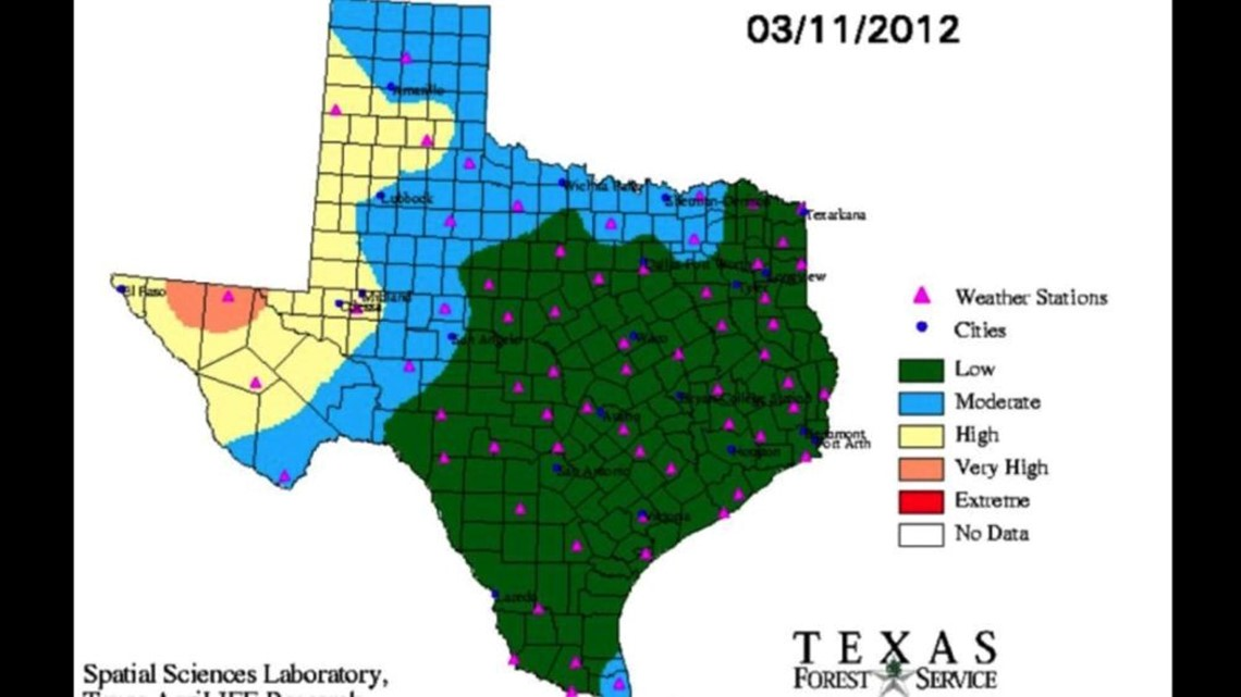 Texas Forest Map Texas Forest Service Releases New Current Fire Danger Map