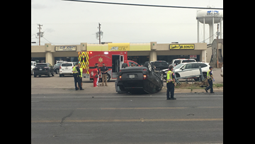 2-vehicle accident leaves SUV upside down
