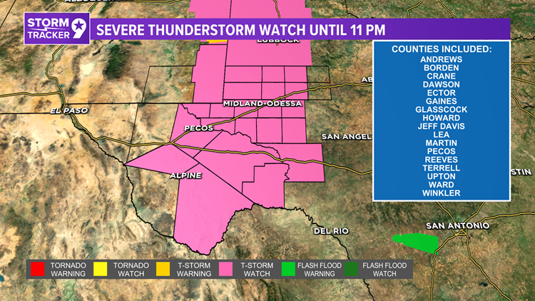 Severe thunderstorm watch until 11:00 P.M. tonight