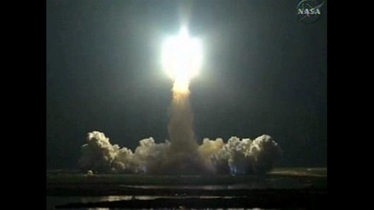 Space Shuttle Endeavour Blasts Off into the Night Sky