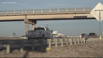 Lamesa Rd Bridge over I-20 damaged by oversized load