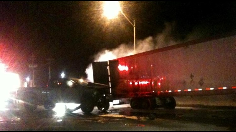 Truck Involved in Accident Catches on Fire in Odessa