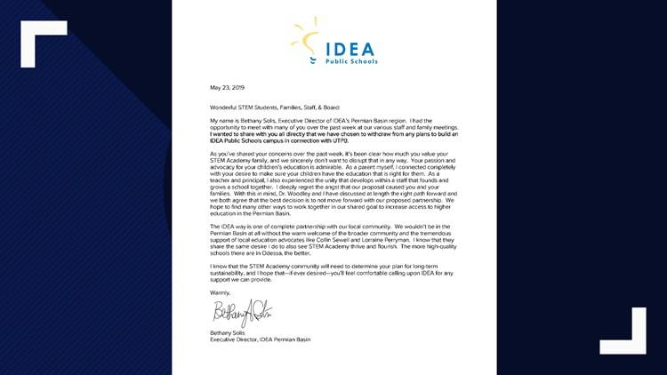 UTPB/IDEA letter