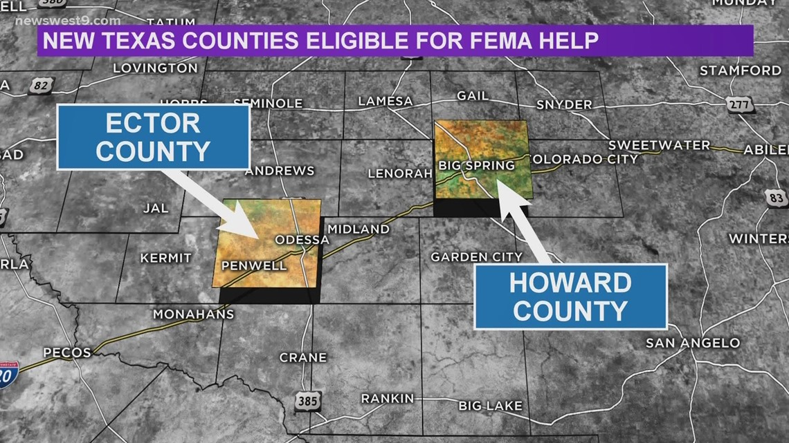 Ector and Howard counties added to FEMA's Disaster Declaration List