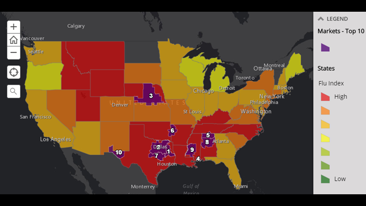 Flu in Texas: Four regions in our state are among the worst flu spots in the country