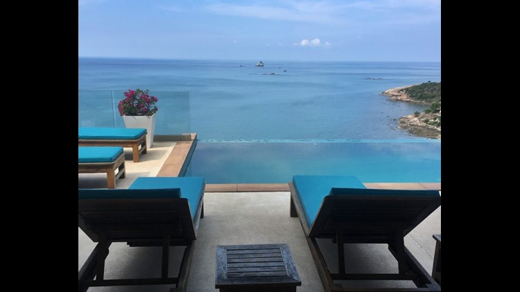 The private pool at the Villa Syama I booked via Airbnb for a group of nine in Koh Samui, Thailand. (Photo by Lori Zaino)