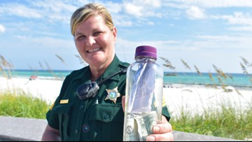From Texas to Florida, a bottle holding ashes and a note inside joins two grieving families